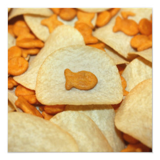 Fish 'N Chips 13 Cm X 13 Cm Square Invitation Card