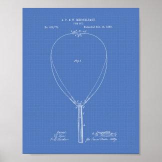 Fish Net 1889 Patent Art Blueprint Poster