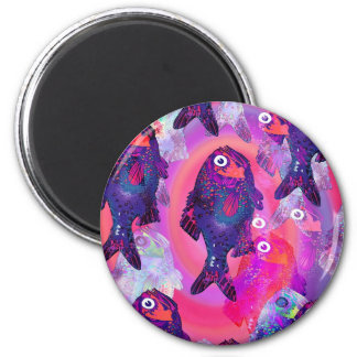 Fish Object Cartoon Animal Fun Kids Style Fashion 6 Cm Round Magnet