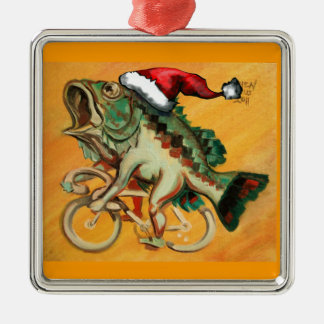 Fish on a Bicycle For X-mas Silver-Colored Square Decoration