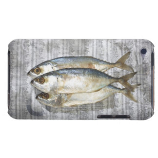 Fish on financial newspaper, elevated view barely there iPod cases