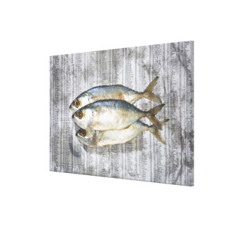 Fish on financial newspaper, elevated view canvas print