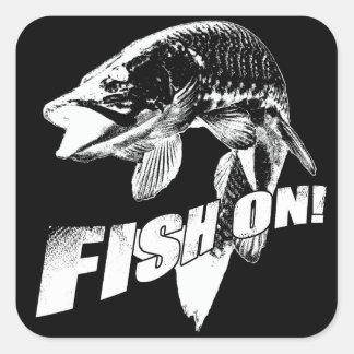 Fish on musky square sticker