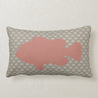 Fish on Scale Pattern in Coral Pink and Blue Lumbar Cushion