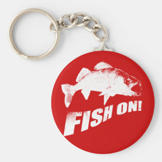 Fish on walleye basic round button key ring