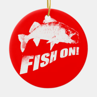 Fish on walleye christmas ornament