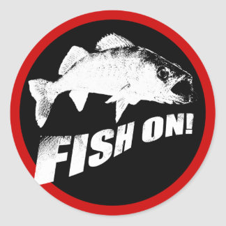 Fish on walleye classic round sticker
