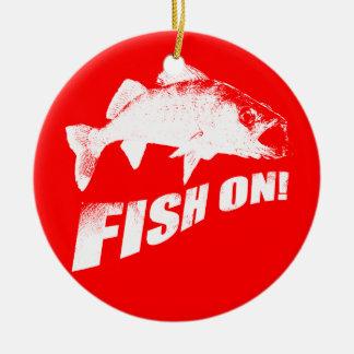 Fish on walleye round ceramic decoration