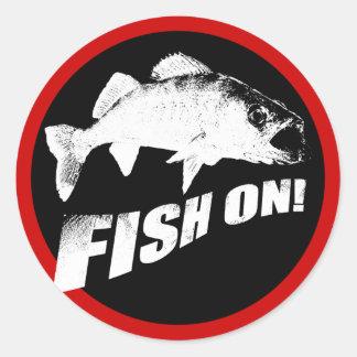Fish on walleye round stickers