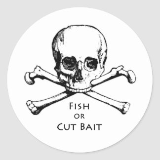 """Fish or Cut Bait"" Jolly Roger Pirate Logo Round Sticker"
