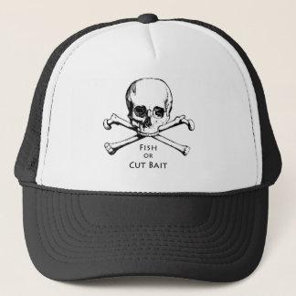 """Fish or Cut Bait"" Jolly Roger Pirate Logo Trucker Hat"