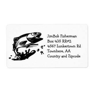 Fish Out of Water - Jumping Trout or Bass Fishing Shipping Label