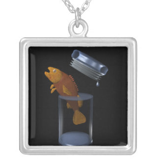 fish out of water square pendant necklace