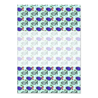 Fish Pattern. Blue Fish Ghost Fish. Card