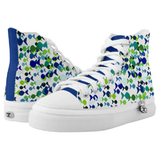 Fish Pattern Blue Green Cheerful Bold Cheerful Printed Shoes