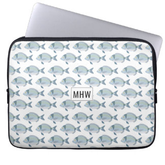 Fish Pattern custom monogram laptop sleeves