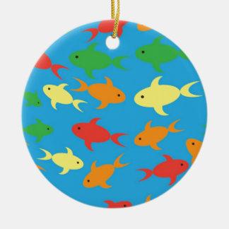 Fish pattern round ceramic decoration