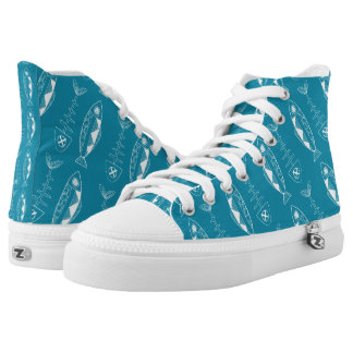 Fish pattern Zipz High Top Shoes, various colours