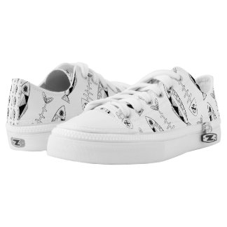 Fish pattern Zipz Low Top Shoes, various colours