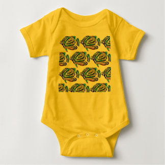 Fish Patterned Beach Me Baby Bodysuit