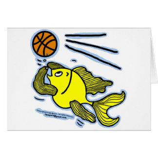 Fish Playing Basketball Greeting Card