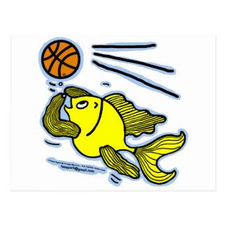 Fish Playing Basketball Postcard