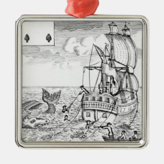 Fish Pool playing card Silver-Colored Square Decoration