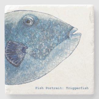 Fish Portrait: Triggerfish Stone Coaster