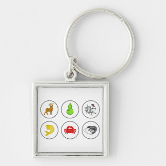 Fish Prawn Crab Collection Game Board Silver-Colored Square Key Ring