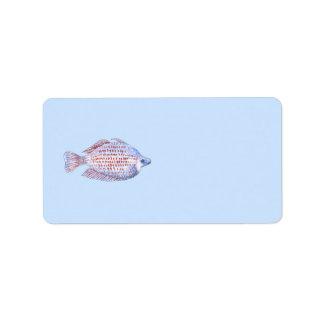 Fish. Red Line Rainbowfish. Label