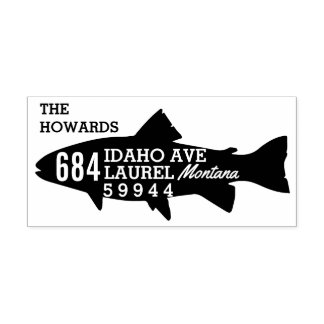 "Fish Return Address Stamp 1.5"" x 3"""
