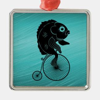 Fish Riding a Bike Christmas Ornament
