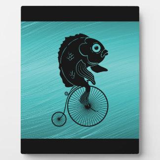 Fish Riding a Bike Plaque