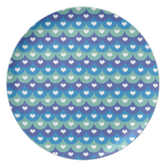 Fish scales and heart- Beach wear-Pool Time-Summer Party Plates