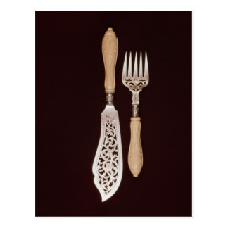 Fish-servers with carved ivory handles postcard