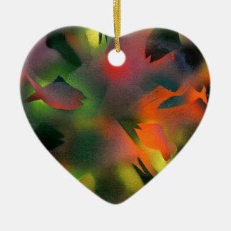 Fish Silhouettes Ceramic Heart Decoration