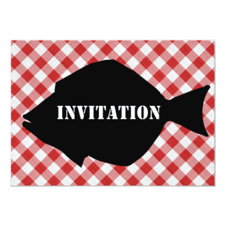 Fish Silo on Red & White Checked Cloth Invitation