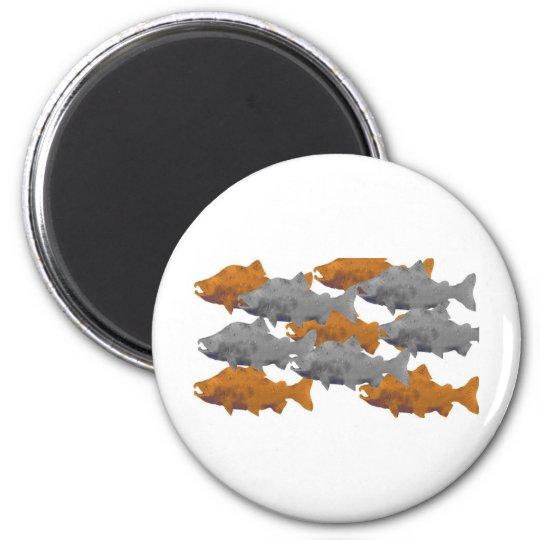 FISH -Silver and Copper Salmon 6 Cm Round Magnet