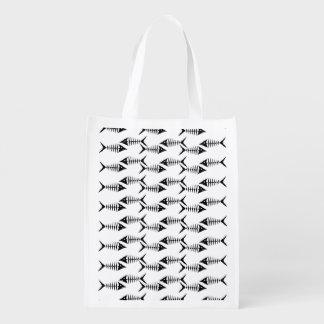 Fish Skeletons Reusable Grocery Bag