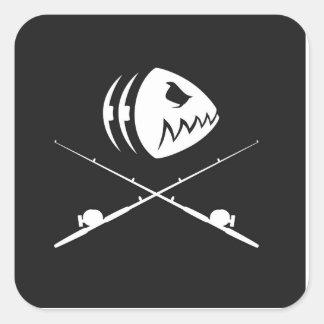 Fish Skull Design Square Sticker