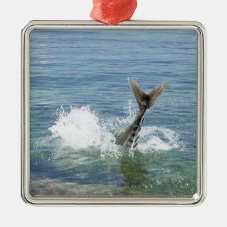 Fish splashing in the sea christmas ornament
