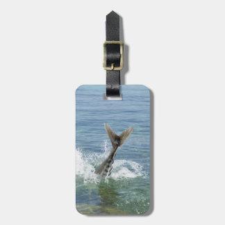 Fish splashing in the sea luggage tag