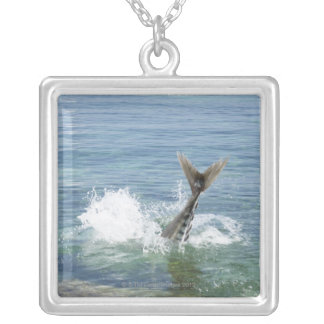 Fish splashing in the sea silver plated necklace