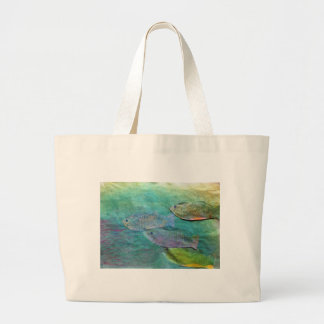 fish swimming about large tote bag