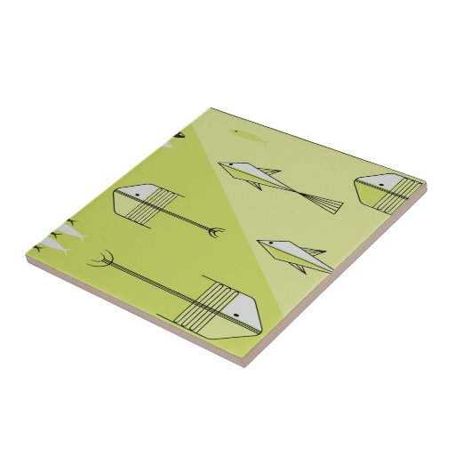 "FISH TALE Ceramic Tile 4.25"" CHARTREUSE"