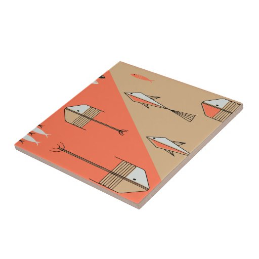 "FISH TALE Ceramic Tile 4.25"" CORAL-SAND"