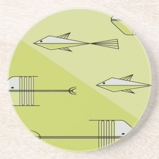 "FISH TALE Coaster 4.5"" CHARTREUSE"