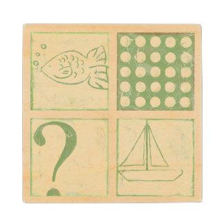 Fish Tale Woodblock Drawings by Chariklia Zarris Wood Coaster