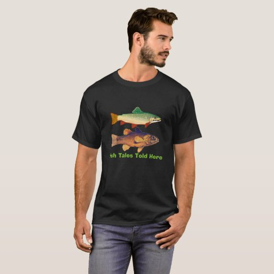 Fish Tales Fisherman T-Shirt, Black T-Shirt
