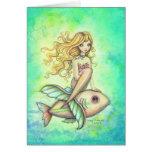 Fish Travel Cute Mermaid and Fish Fantasy Art Greeting Card